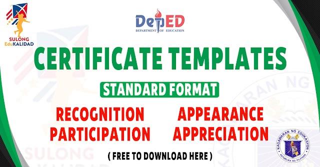 CERTIFICATE TEMPLATES - STANDARD FORMAT | DepEd