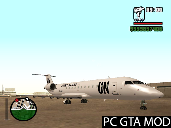 Free Download  Bombardier CRJ-200 United Nations with CLEO script  Mod for GTA San Andreas.