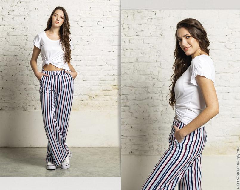 Moda pantalones primavera verano 2020 a rayas mujer.