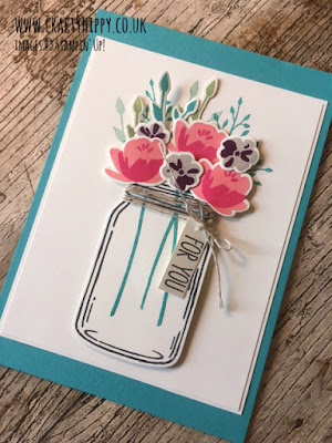 This image shows a handmade card made with the Jar of Love stamp set and a Bermuda Bay background, by Stampin' Up!