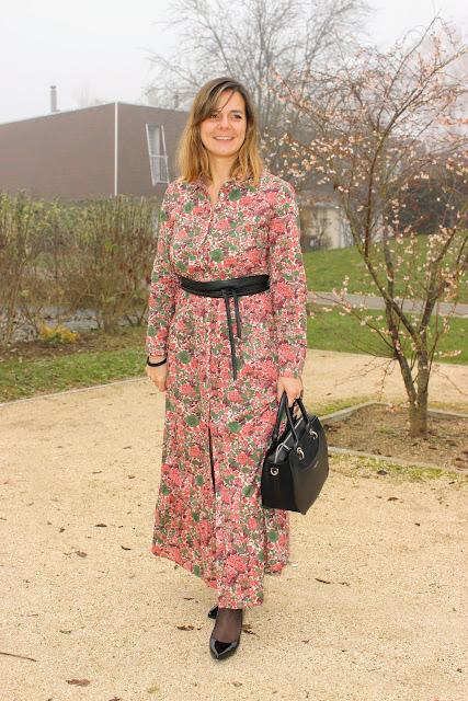 robe longue sézane, sac lancaster, look du jour, les petites bulles de ma vie