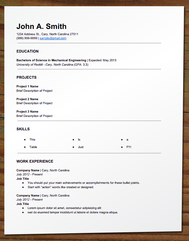 need resume for   time job   reverse chronological resume    need resume for   time job