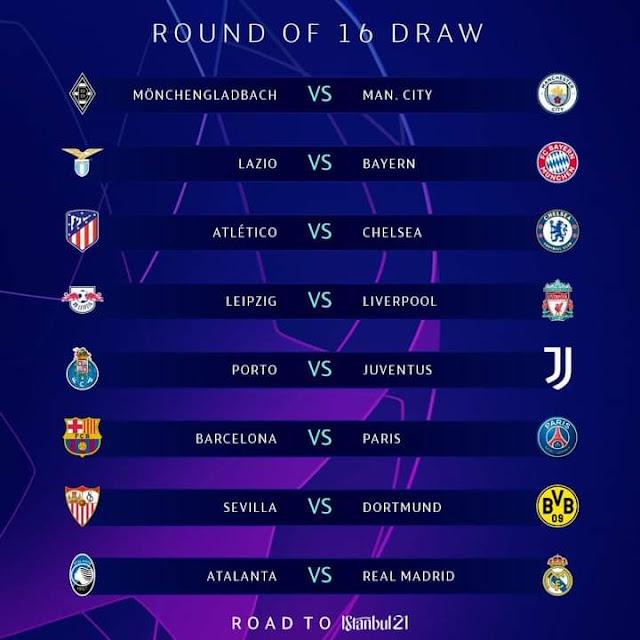 نتائج قرعة دوري أبطال أوروبا دور الستة عشر 2020/2021