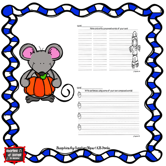 Scarecrow-themed word work and writing activities, along with mentor texts, will get your young readers and writers excited about compound words!