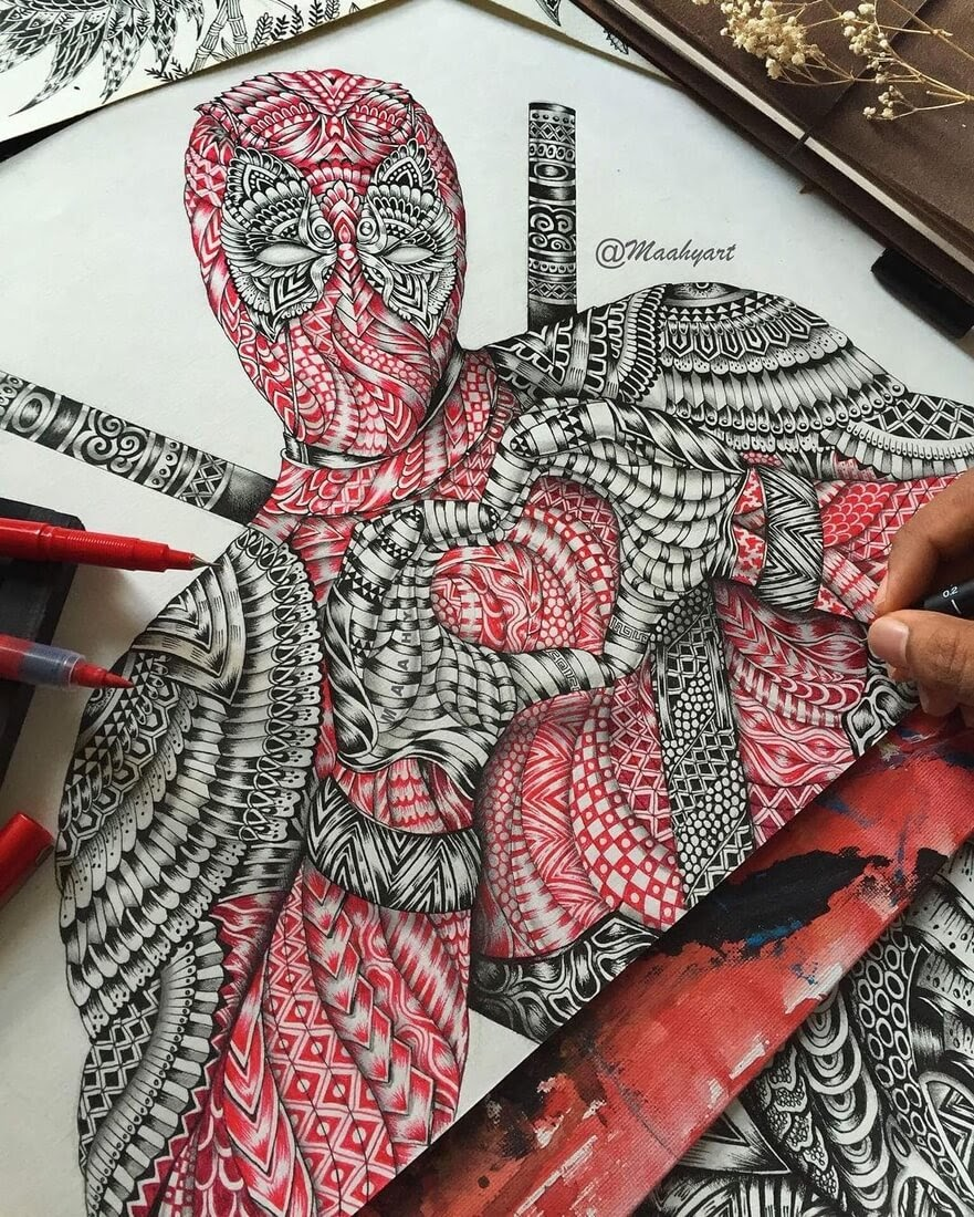 04-Superhero Deadpool-Maahy-Drawings-Given-the-Zentangle-Treatment-www-designstack-co