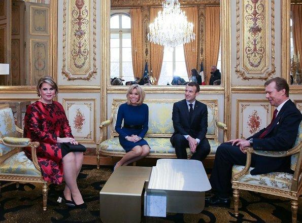 Grand Duke Henri, Grand Duchess Maria Teresa, French President Emmanuel Macron and Brigitte Macron Valentino Print Coat