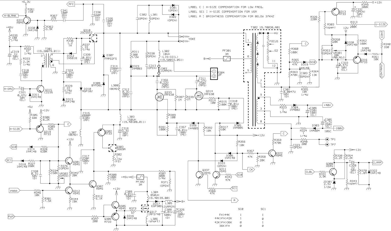 HP D2825 Acer 7254 CRT monitor circuit diagram Full | Electro help