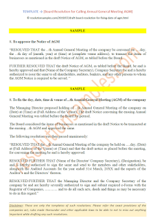 board resolution for notice of annual general meeting