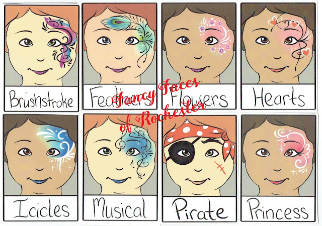 brushstroke, feathers, flowers, hearts, icicles, musical, pirate, and princess face painting designs