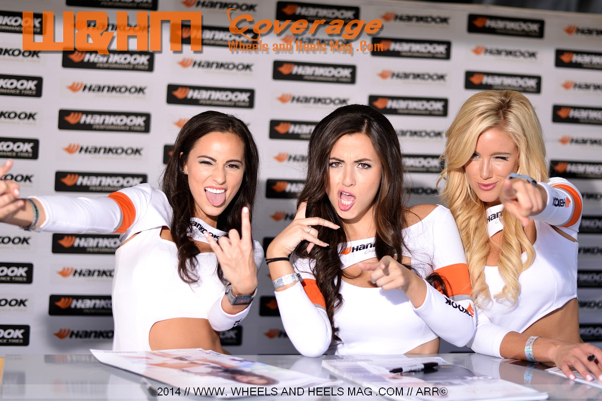 Sadie May, Erica Nagashima, Jessica Harbour in 2014 Formula Drift Irwindale Hankook girl in white sexy uniform with beautiful smiles and goofing having fun