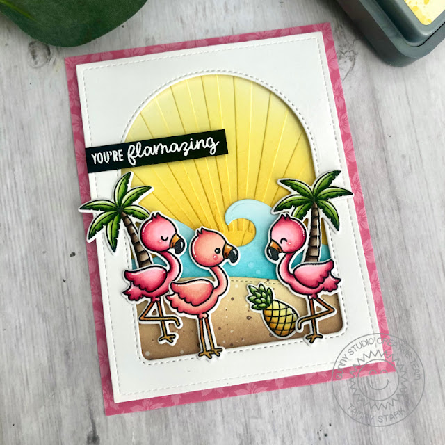 Sunny Studio Stamps: Embossing Folders Fabulous Flamingos Stitched Arch Dies Card by Tammy Stark