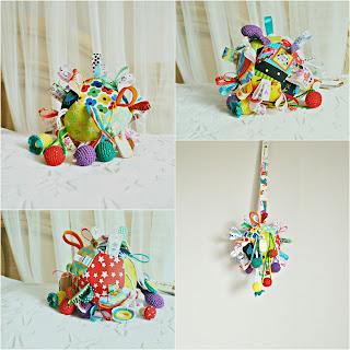 развивающий сенсорный мячик для ребенка с пищалкой и гремелкой handmade, ручная работа сенсорный, тактильный, ранее развитие, мелкая моторика, цветовое и слуховое восприятие
