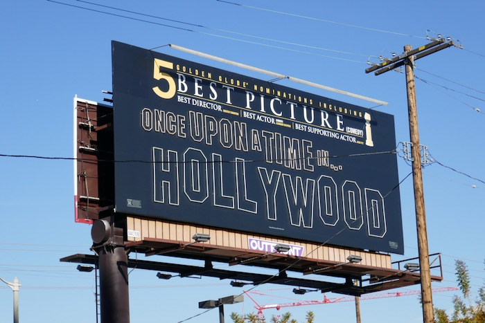 Once Upon a Time Hollywood golden globes billboard