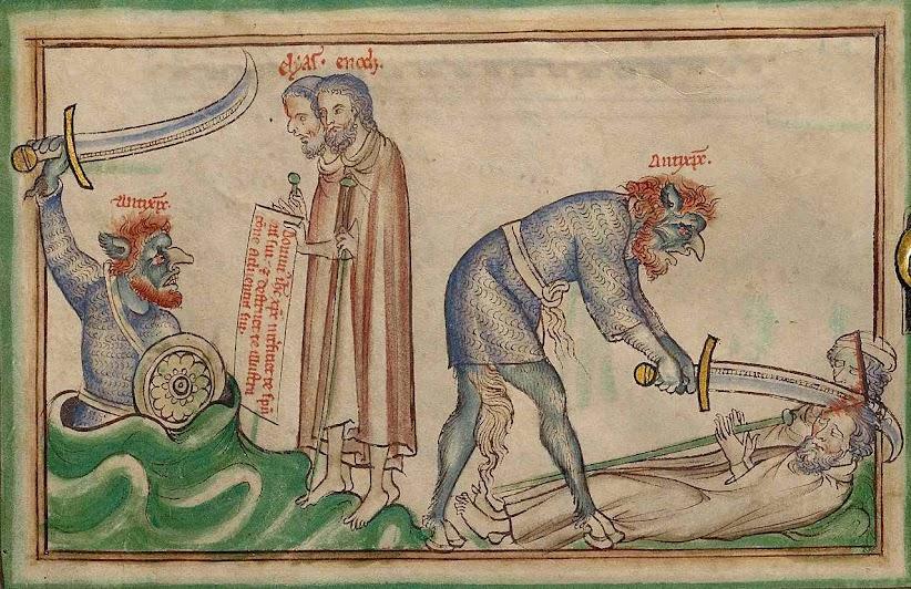 O Anticristo matará as duas testemunhas. MS. LUDWIG III 1 (Getty museum) - Dyson Perrins Apocalypse