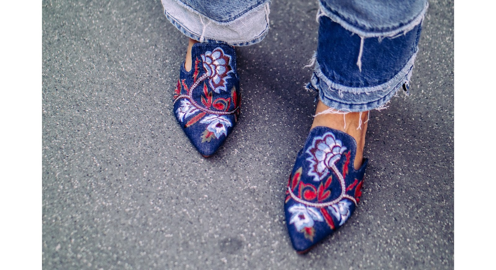 Mango floral embroidered denim mules