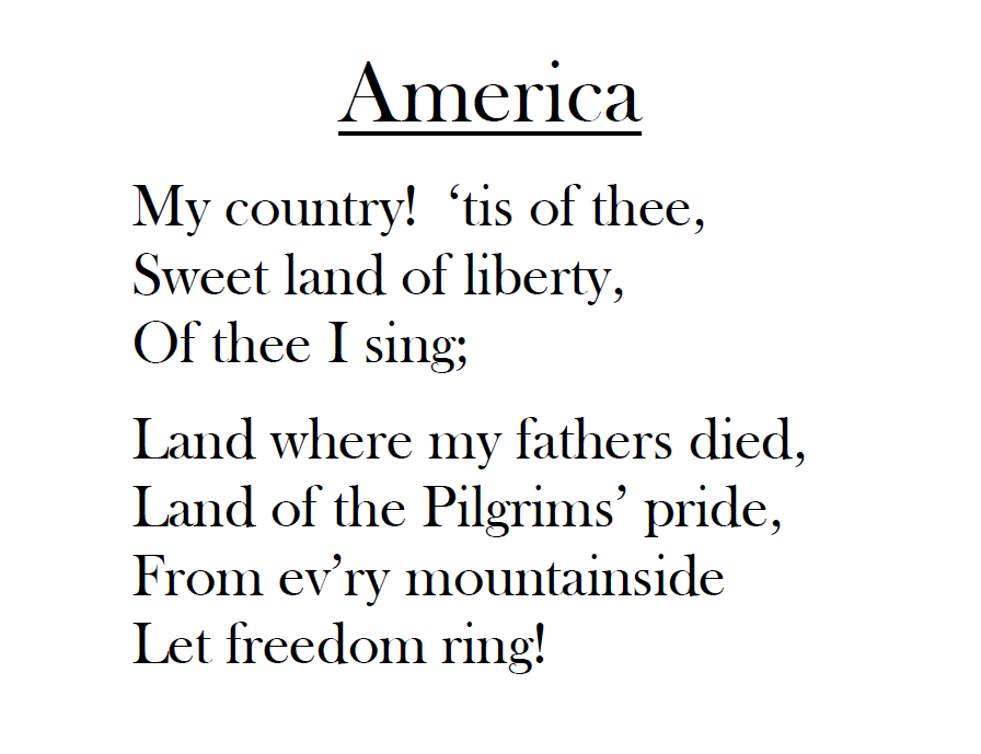 Lyric my country tis of thee lyrics : Elementary Music Methods: Real Life Edition: Veterans Day Music ...
