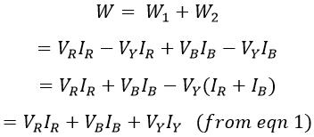 Two Wattmeter Method of Power Measurement