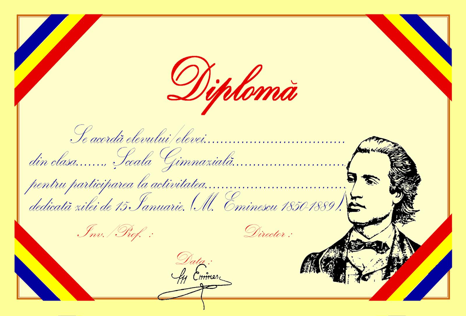 Diplome pentru activitățile desfășurate pe 15 Ianuarie