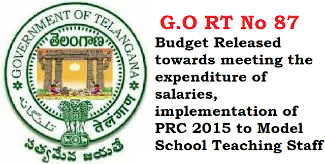G.O RT No 87 Budget Released towards meeting the expenditure of salaries, implementation of PRC 2015 to Model School Teaching Staff /2016/06/go-rt-no-87-budget-released-towards-meeting-the-expenditure-of-salaries-implementation-of-prc-2015-to-model-school-teaching-staff.html