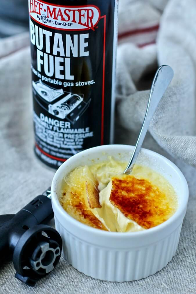 Crème Brûlée with Vanilla and Grand Marnier with the butane torch