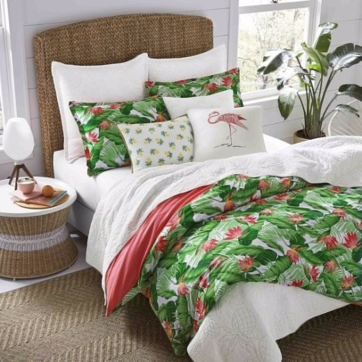 Green and Pink Tropical Bedroom | Shop the Look