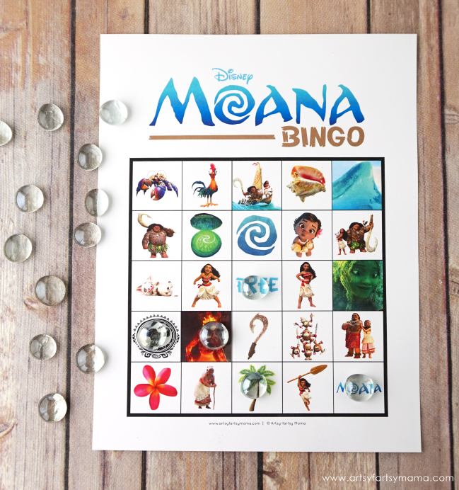 graphic relating to Disney Bingo Printable titled Free of charge Printable Disney Moana Bingo artsy-fartsy mama