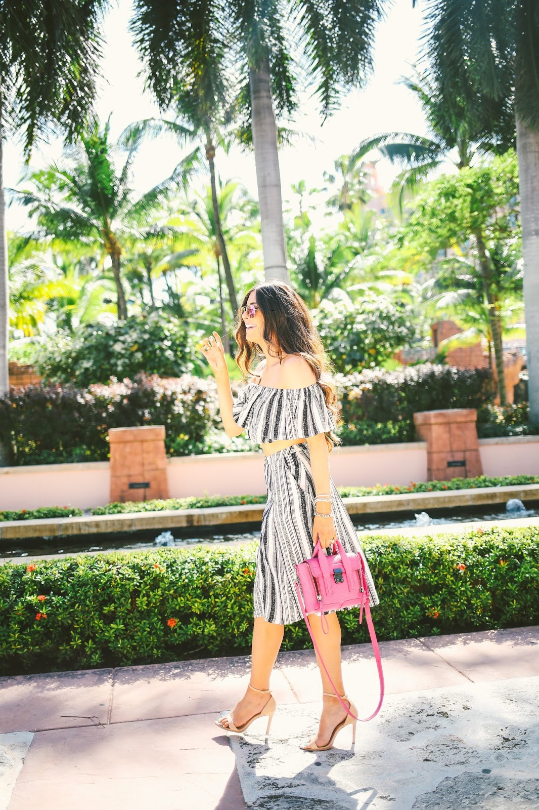 pink ray ban aviators, fuchsia ray ban aviators, ASTR two piece set, striped skirt and crop top outfit, pink phillip lim mini, fushica phillip lim mini, atlantis bahamas