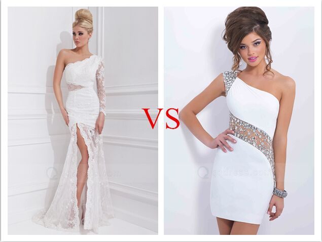 One Shoulder Long Prom VS Short Prom Dress - White