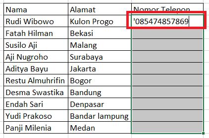 Cara Menulis Nomor Telepon di Excel Agar 0 Didepan Tidak Hilang