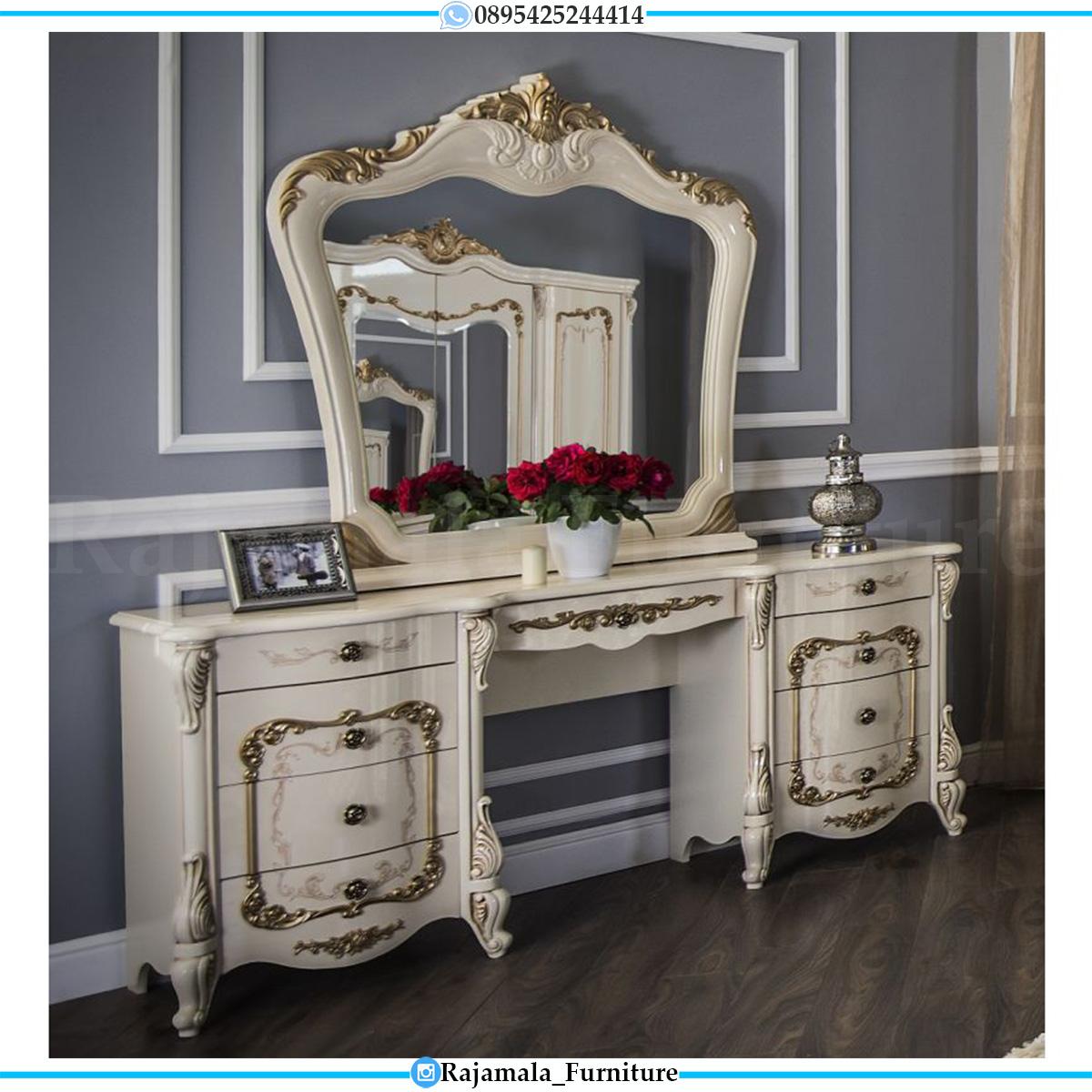 Harga Meja Rias Ukiran Jepara Luxury White Duco Glossy Elegant RM-0551