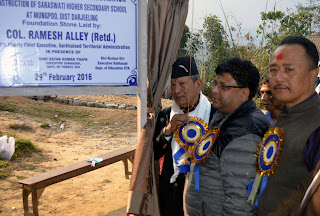 Col. Ramesh Alley laid foundation stone for model school in mungpoo