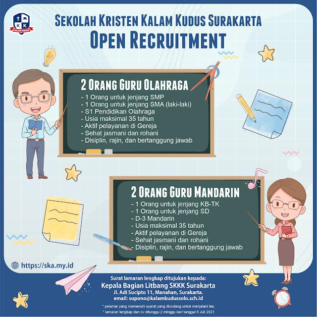 Lowongan Kerja Bulan Juli 2021 di Sekolah Kristen Kalam Kudus Surakarta