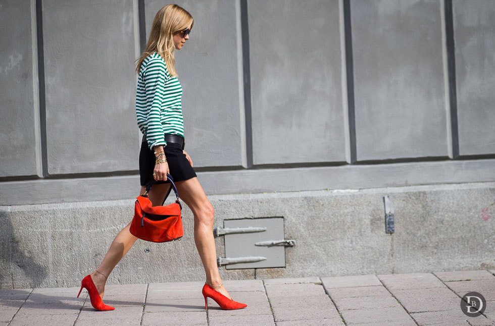 Pernille Teisbaek - Stripes + Red Pumps, Stockholm Fashion Week, The Urban Spotter Street Style