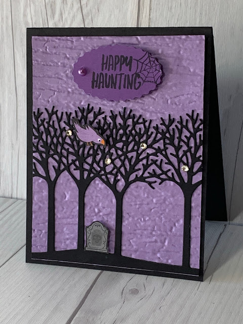 Handmade Halloween Card featuring die cut trees using Inspiring Canopy Dies and Stampin' Up! Banner Year Stamp Set