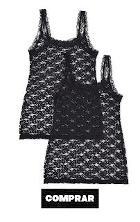 Iris & lilly Camiseta de Tirantes de Encaje Mujer, color negro