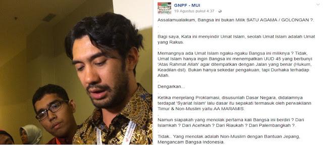 GNPF Boikot Artis Reza Rahadian Karena Sebut Negara Bukan Milik Golongan Tertentu
