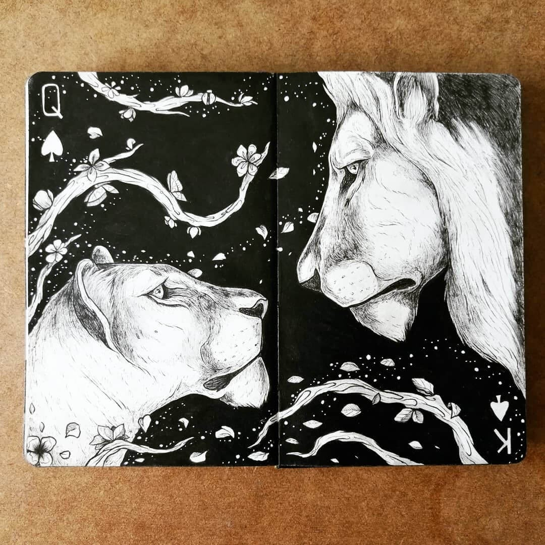 10-Queen-and-King-of-spades-Lions-Bráulio-Monteiro-Moleskine-Pen-and-Ink-Animal-Illustrations-www-designstack-co