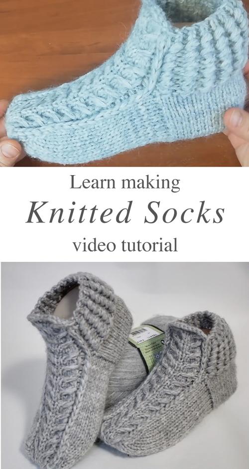 Knitted Slipper Socks - Tutorial