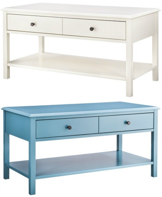 Simple Coffee Tables with Drawers in White and Blue from Target