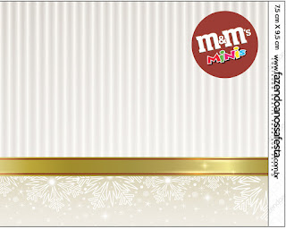 Gold and Grey Free Printable M&M Labels.
