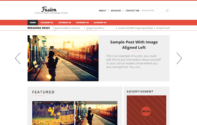 Fusion Responsive Magazine News Blogger Template Theme