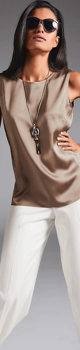 MADELEINE SLEEVELESS BLOUSE IN TAUPE