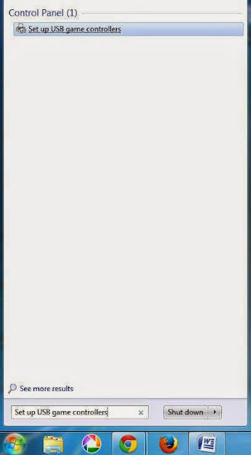 Gamapad menu in windows 7 start