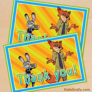 Zootopia Thank you Cards