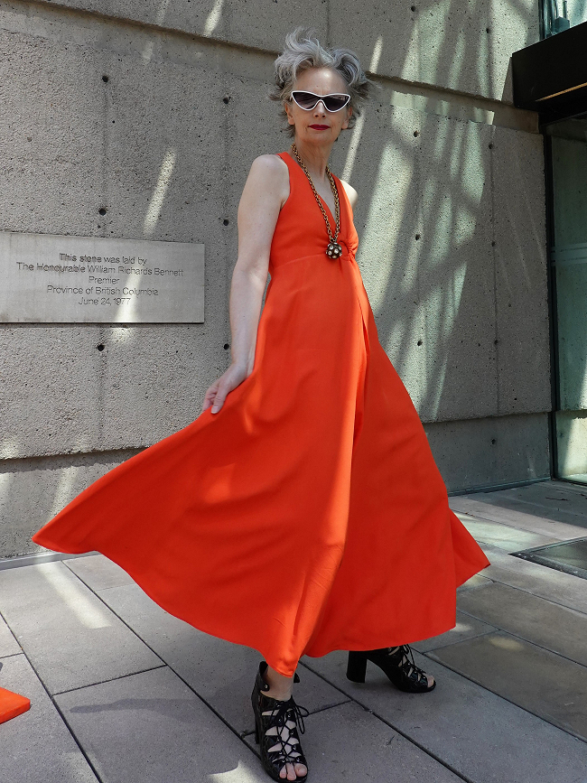 Mel Kobayashi of Bag and a Beret in vintage orange jumpsuit, 2018
