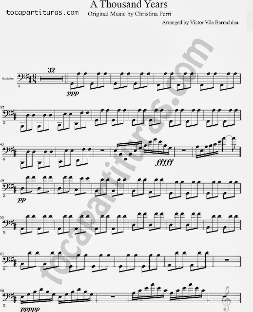Partitura de A Thousand Yeras para Bajo Eléctrico Sheet Music for Electric Bass