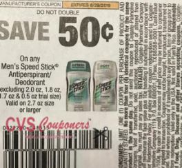 "Speed Stick Or Lady Speed Stick Antiperspirant Deodorant Coupon from ""Smart source"" insert"