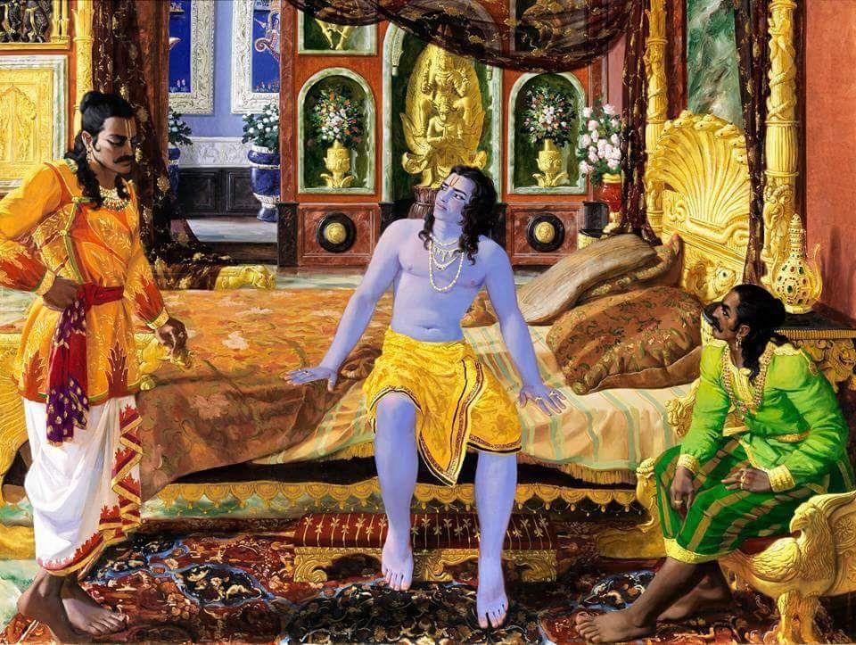 Arjuna And Suyodhana Meet Krishna