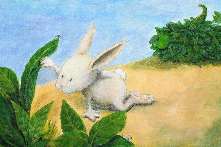 Kinderbuchillustration, Drache, Hase, Acryl, children's book illustration