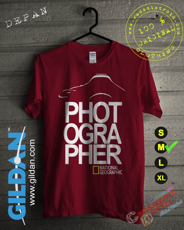 Baju Kaos Photographer Warna Merah Maroon